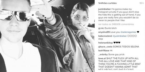 Justin Bieber e Selena Gomez protagonizam polêmica