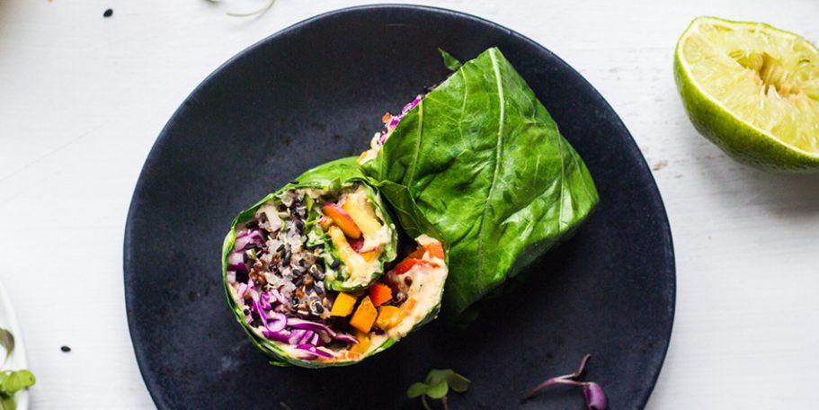 Receita Vegana: Wrap de quinoa na folha de couve